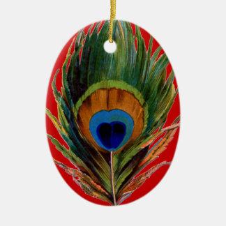 Ornamentos retros del navidad de la pluma del pavo adorno ovalado de cerámica
