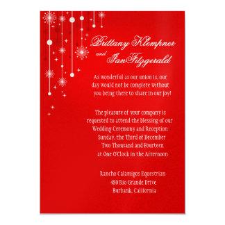 """Ornamentos retros del navidad que casan rojo invitación 5"""" x 7"""""""