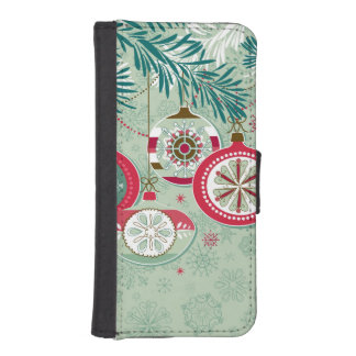 Ornamentos retros rojos y azules del navidad fundas billetera para teléfono