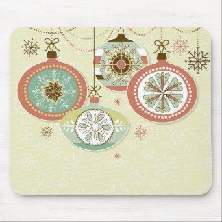 Ornamentos retros rojos y azules del navidad tapetes de ratones