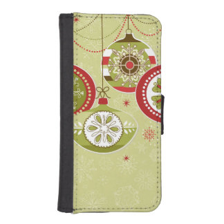 Ornamentos retros verdes y rojos del navidad billetera para teléfono
