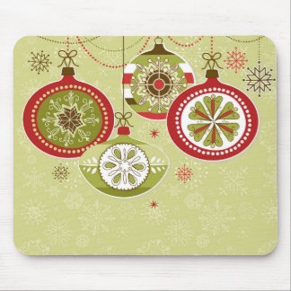 Ornamentos retros verdes y rojos del navidad mouse pad