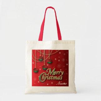 Ornamentos rojos brillantes de las Felices Navidad Bolsa Tela Barata