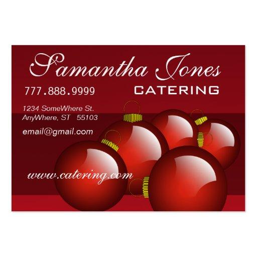 Ornamentos rojos del navidad de la tarjeta de tarjetas de visita grandes
