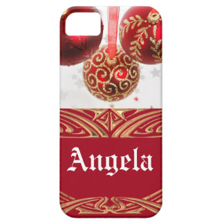 Ornamentos rojos festivos de la bola del navidad iPhone 5 fundas