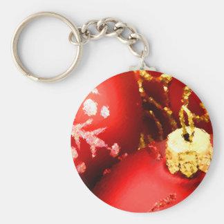 Ornamentos rojos pintados del navidad llavero redondo tipo pin