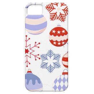 Ornamentos rojos y azules retros del navidad iPhone 5 fundas