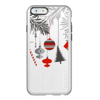Ornamentos rojos y grises modernos retros del funda para iPhone 6 plus incipio feather shine