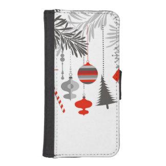 Ornamentos rojos y grises modernos retros del fundas billetera para teléfono