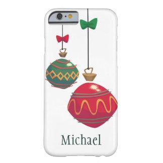 Ornamentos rojos y verdes retros del navidad funda de iPhone 6 barely there
