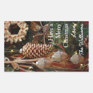 Ornamentos rústicos del día de fiesta del navidad pegatina rectangular
