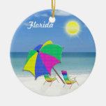 Ornamentos temáticos tropicales del navidad de la adorno navideño redondo de cerámica