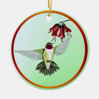 Ornamentos Throated rojos del colibrí Adornos De Navidad