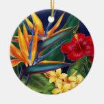 Ornamentos tropicales del paraíso ornaments para arbol de navidad