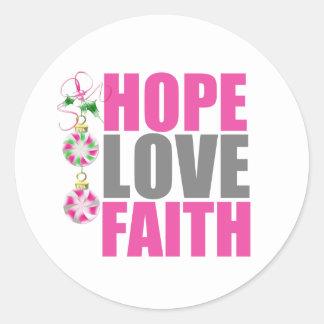 Ornamentos v1 del navidad de la fe del amor de la etiqueta redonda