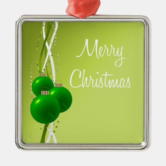 Ornamentos verdes brillantes del navidad adorno navideño cuadrado de metal