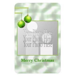 Ornamentos verdes del navidad (marco de la foto) iman rectangular