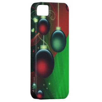 Ornamentos verdes y rojos del navidad iPhone 5 protector
