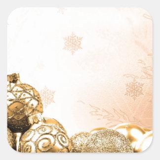 Ornamentos y copos de nieve del navidad del oro pegatina cuadrada