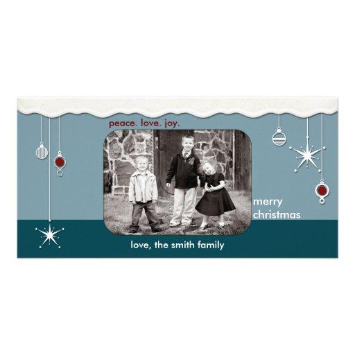 Ornamentos y navidad de la nieve que saluda tarjeta con foto personalizada
