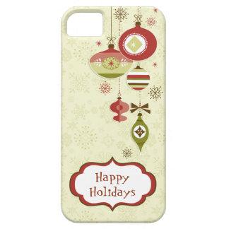 Ornamentos y nieve retros - buenas fiestas iPhone 5 fundas