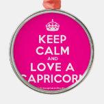 [Crown] keep calm and love a capricorn  Ornaments