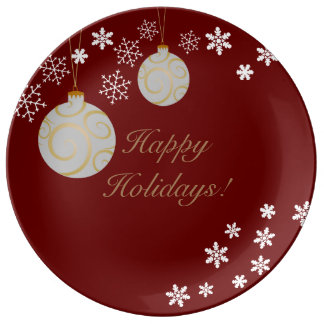 Ornaments and Snowflakes Happy Holidays Plate