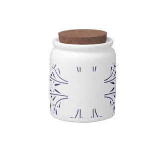Ornaments blue on white candy jar