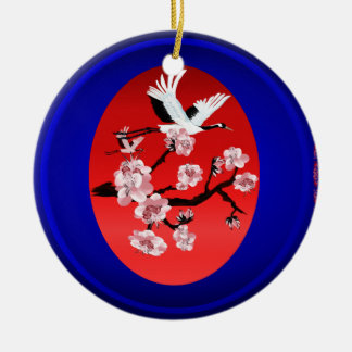 Ornaments -Flying Crane and Sun-(midnight blue ba