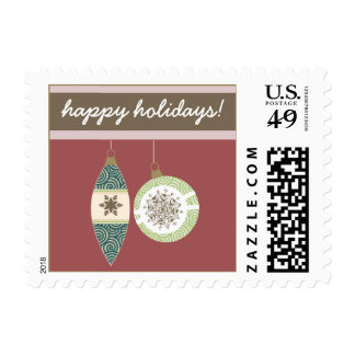 Ornaments Holiday Postage (maroon)