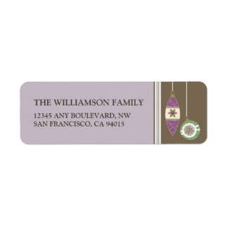 Ornaments Holiday Return Address Labels (lilac)