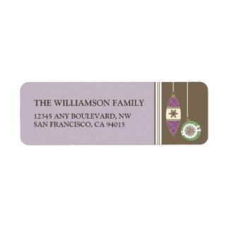 Ornaments Holiday Return Address Labels (lilac)