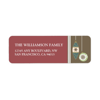 Ornaments Holiday Return Address Labels (maroon)