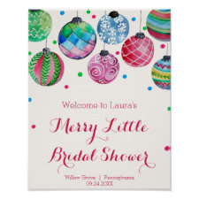 Ornaments Merry Little Bridal Shower Welcome Poster