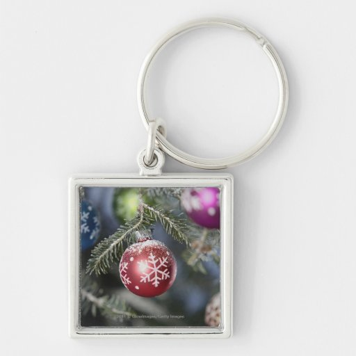 Ornaments on a Christmas tree Silver-Colored Square Keychain