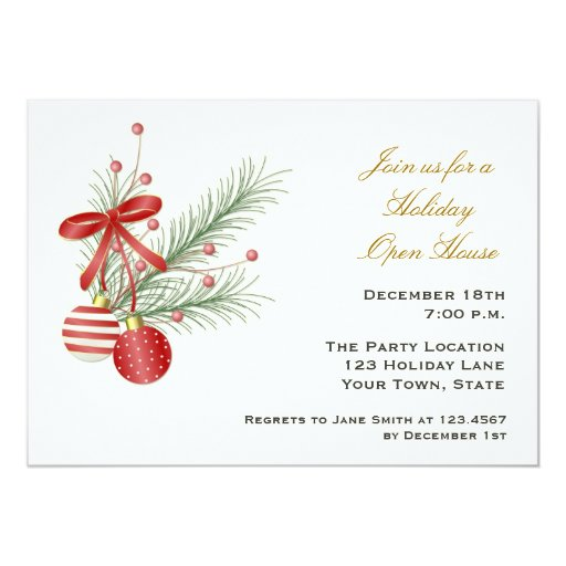 Ornaments, Pine Branches Holiday Invitation