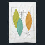 """Ornaments Retro Mid Century Kitchen Towel<br><div class=""""desc"""">Add a pop of color to your kitchen with this fun orange,  turquoise and avocado green kitchen towel.</div>"""