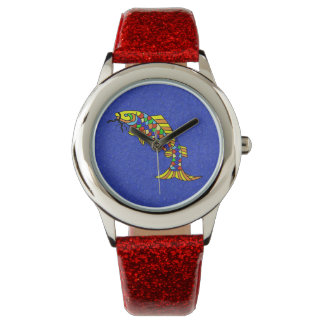 Ornate Abstract Fish Bright Colorful Scales Watch