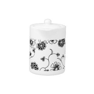 Ornate Abstract Flower Textile Pattern Teapot