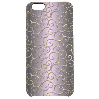 Ornate Antique Baroque Faux Gold Swirl Pattern Clear iPhone 6 Plus Case