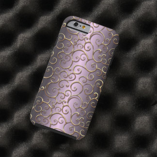 Ornate Antique Baroque Faux Gold Swirl Pattern Tough iPhone 6 Case
