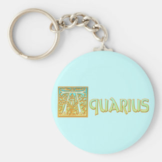Ornate Aqua Blue and Gold Aquarius Keychains