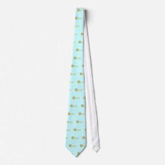 Ornate Aqua Blue and Gold Aquarius Tie
