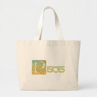 Ornate Aqua Blue and Gold Pisces Large Tote Bag