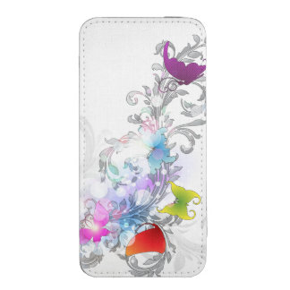 Ornate arabesque scroll design brushed with waterc iPhone SE/5/5s/5c pouch