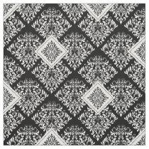 ornate baroque black White Damask Fabric