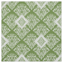 ornate baroque green White Damask Fabric