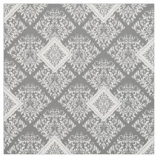 ornate baroque white gray Damask Fabric