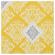 ornate baroque yellow gray Damask Fabric