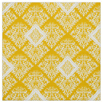 ornate baroque yellow White Damask Fabric